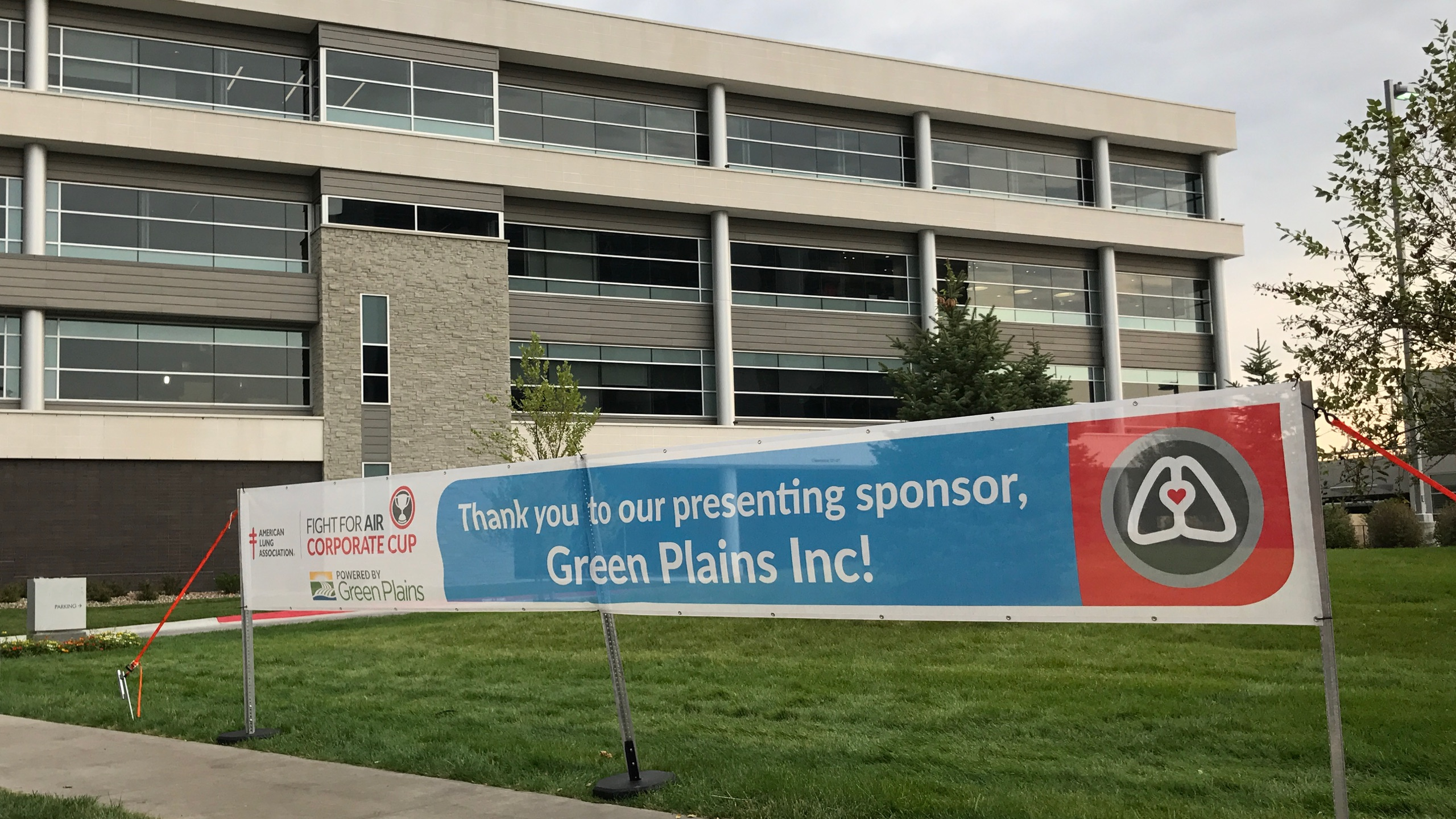 Corporate Cup Sponsorship banner outside of the Green Plains Corporate Headquarters