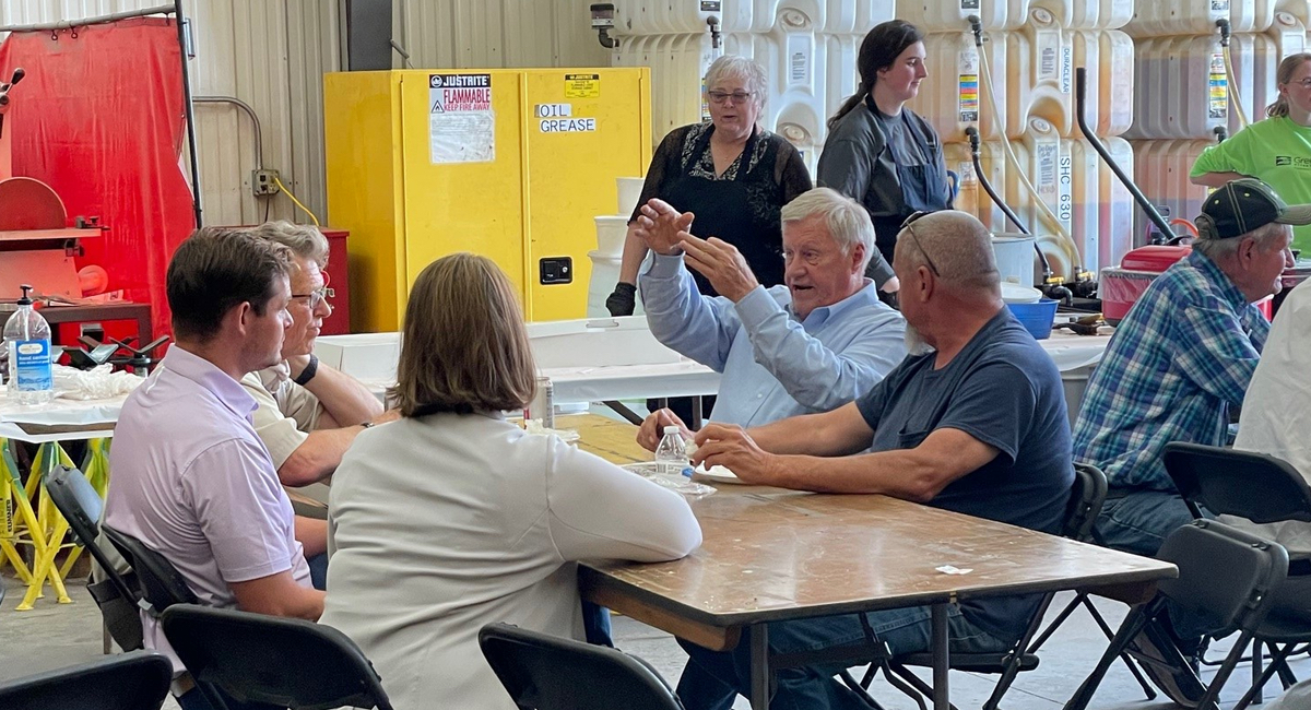 Peterson customers and community members eating lunch